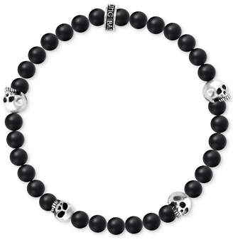 King Baby Studio Men's Onyx Skull Stretch Bracelet in Sterling Silver