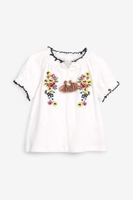 Next Girls Ecru Embroidered Short Sleeve Blouse (3mths-7yrs)