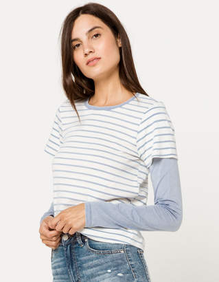 Ivy & Main Stripe 2 Fer Womens Tee