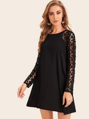 Shein Keyhole Back Guipure Lace Raglan Sleeve Flowy Dress