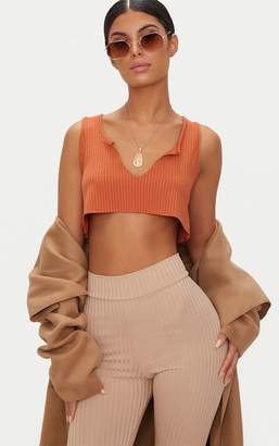 PrettyLittleThing Orange Rib Deep V Raw Edge Crop Top