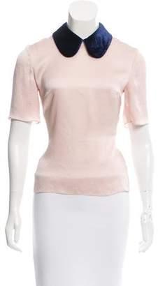 Roksanda Velvet-Accented Silk Top w/ Tags