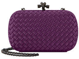 Bottega Veneta Medium Chain Knot Satin Clutch Bag