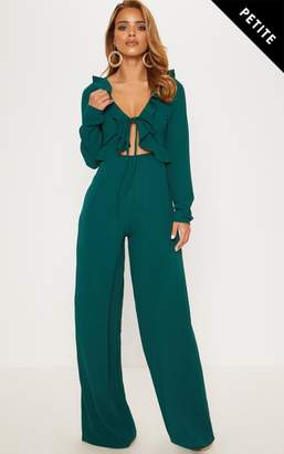 PrettyLittleThing Petite Black Long Sleeve Frill Tie Front Jumpsuit