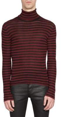 Saint Laurent Men's Striped Turtleneck Pullover - Red Black - Size XL