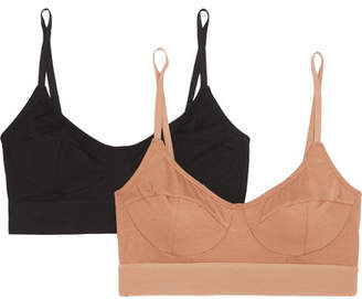 Base Range Baserange - Set Of Two Stretch-bamboo Soft-cup Bra - Sand