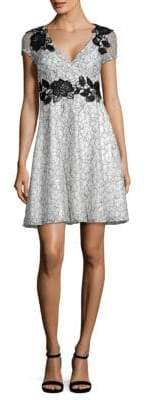 Aidan Mattox Short Sleeve Lace Cocktail Dress