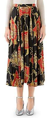 Gucci Women's Printed Silk Twill Plisse Midi Skirt