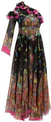 Etro Paisley Print One Shoulder Gown - Womens - Black Pink