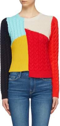 Alice + Olivia 'Lebell' colourblock mix knit asymmetric cropped sweater