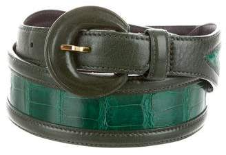 Oscar de la Renta Alligator-Trimmed Waist Belt