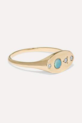 Wwake - 14-karat Gold, Opal And Diamond Signet Ring