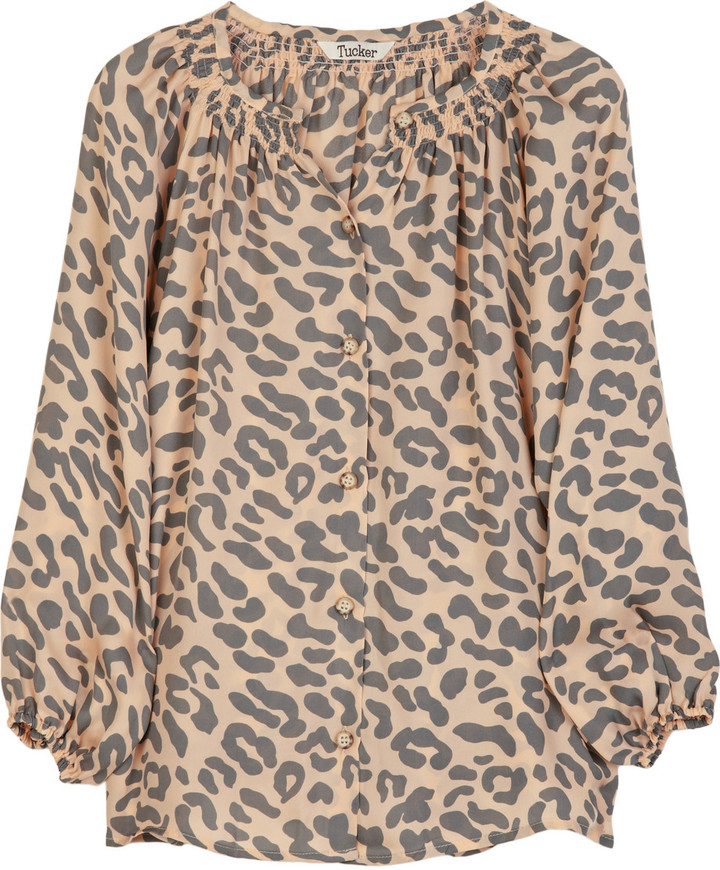 Tucker Leopard-print silk blouse