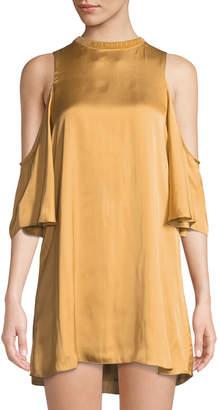 Tularosa Pablo Cold-Shoulder Charmeuse Mini Dress