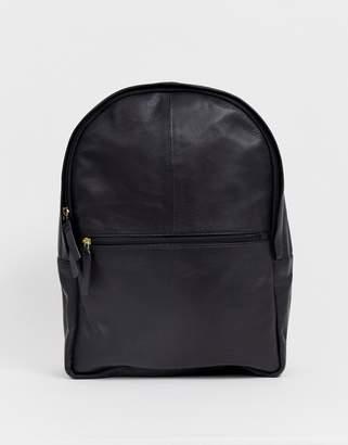 bf611fe244e Asos Design DESIGN leather backpack in black