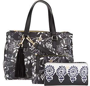 Dena Double Top Zip Satchel Handbag withAccessories