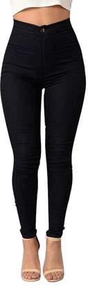 SHOWNO-Women Casual High Waist Solid Stretchy Skinny Denim Jeans Pencil Pants S