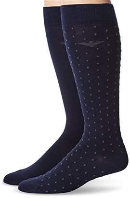 Emporio Armani Men's Plain Stretch Cotton Polka Dot Two Pack Long Socks