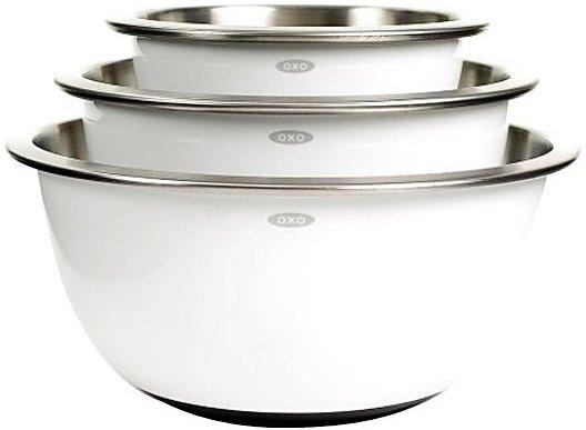 OXO Good Grips Stainless Steel Mixing Bowl Set, White, 3-pc