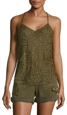 Polo Ralph Lauren Beaded Y-Back Tank Top $298 thestylecure.com