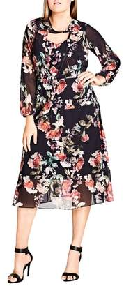 City Chic Sheer Divine Floral Print Midi Dress