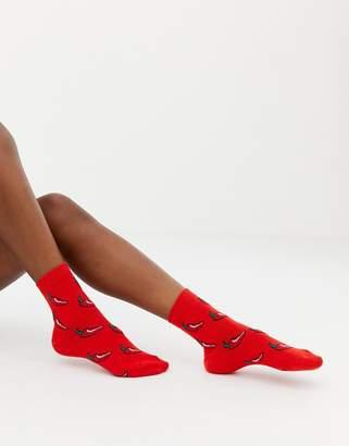Asos DESIGN Valentines hot chilli glitter socks