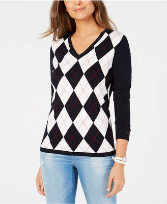 Tommy Hilfiger Cotton Argyle-Front Sweater