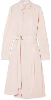 Jil Sander Pleated Cotton-poplin Shirt Dress - Pink