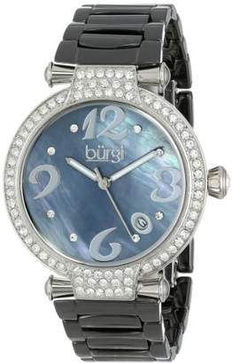 Burgi Women's BUR071BK Quartz Date Ceramic Bracelet Watch