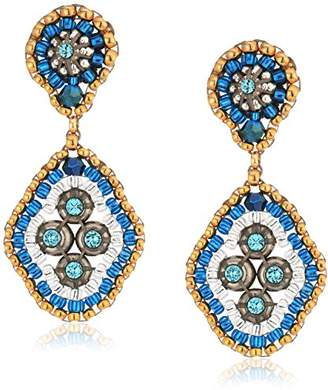 Miguel Ases Small Swarovski Cluster Rhombus Post Drop Earrings