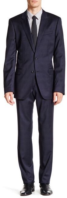 Hugo Boss HUGO BOSS Navy Glen Plaid Two Button Notch Lapel Wool Suit