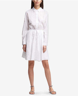 DKNY Cotton Striped Drawstring-Waist Shirtdress