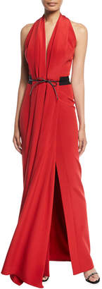 Atelier Caito For Herve Pierre Bowed-Waist Halter Neck Gown
