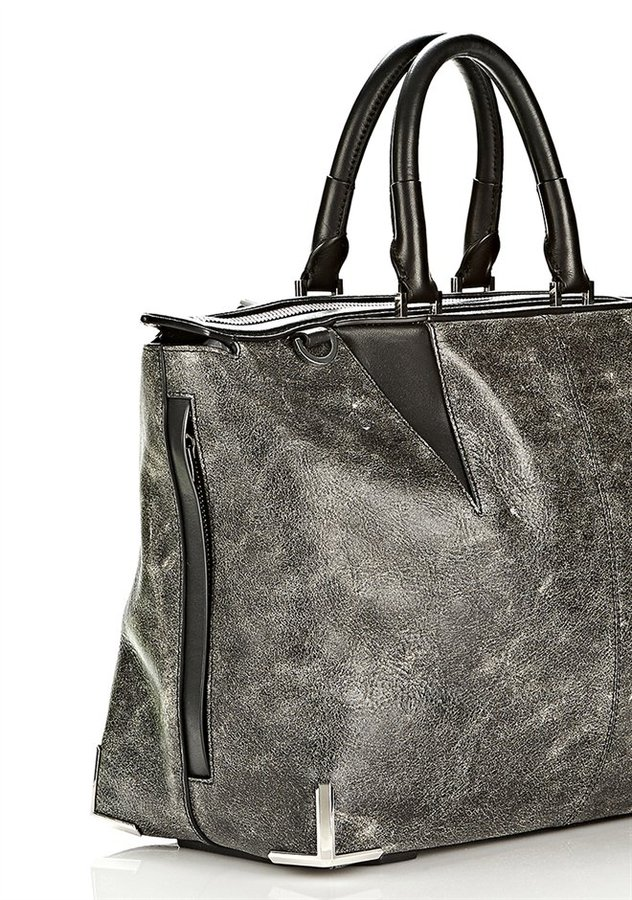 Alexander Wang Prisma Skeletal Satchel In Distressed Black With Rhodium