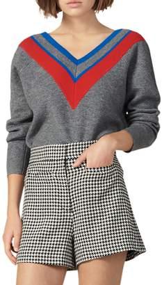 Sandro Stripey Varsity Stripe V-Neck Sweater
