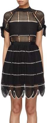 Self-Portrait Scalloped hem stripe crochet lace dress