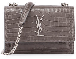 Saint Laurent Sunset Monogram Small Crocodile-Embossed Crossbody Bag $1,550 thestylecure.com