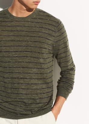 Striped Wool-Linen Crew