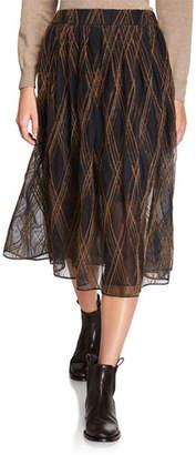Brunello Cucinelli Monili-Beaded Argyle Tulle Skirt