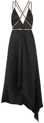 Elena Makri - Artemis Embellished Plissé Silk-georgette Midi Dress - Black