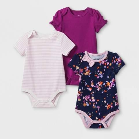 Cat & Jack Baby Girls' 3pk Bodysuits Set - Cat & Jack Floral/Magenta