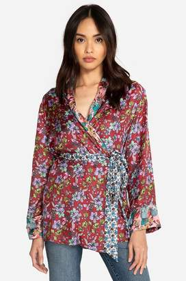 Johnny Was Penny Mixed Wrap Top