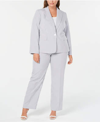 Le Suit Plus Size Single-Button Seersucker Pantsuit
