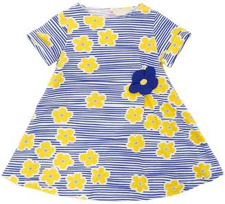 Il Gufo Floral Striped Cotton Jersey Dress