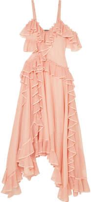 Alexander McQueen Asymmetric Ruffled Silk-organza-trimmed Stretch-knit Gown - Blush