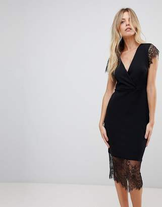 Asos Pencil Dress with V Neck and Lace Sleeves and Hem