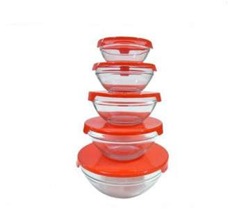 Generic Portable Food Storage Containers Glass Bowl Set With Lids