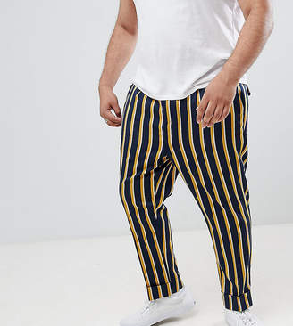 Asos DESIGN Plus cigarette smart PANTS in navy stripe with turn up
