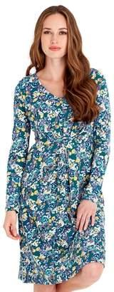 Joe Browns Green Floral Print Jersey 'Effortlessly Elegant' V-Neck Long Sleeves Knee Length Dress