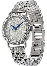 Steel by Design Stainless Steel Pave' Crystal Bracelet Watch